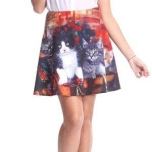 ROMWE Christmas Cat Scuba Mini Skirt